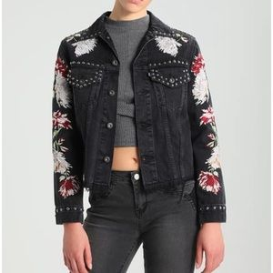 Levi's made&crafted black embroidered denim jacket